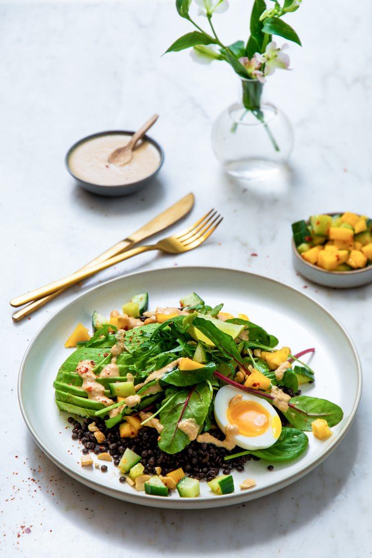 Linsesalat med avokado og mangosalsa, toppet med egg og cashewdressing